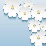 Bleu floral abstrait - fond gris avec le flo 3d Photographie stock libre de droits