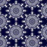 Bleu-foncé blanc de mandala de modèle Image stock