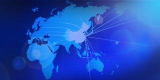 Bleu global de l'Asie de porcelaine internationale de carte Image stock