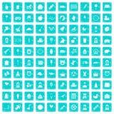 100 bleu grunge réglé d'enfant par icônes centrales illustration stock