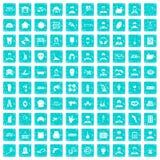 100 bleu grunge réglé de professions par icônes différentes Photos stock