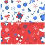 Bleu iconique et rouge d'ensemble de Noël Image stock