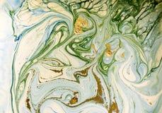 Bleu marbré, vert et fond abstrait d'or Modèle de marbre liquide photographie stock libre de droits