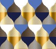 Bleu marine et modèle de luxe de la géométrie d'or Vec sans couture de modèle illustration libre de droits