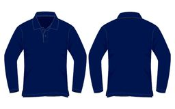 Bleu marine Polo Shirt Long Sleeve Vecor pour le calibre illustration de vecteur