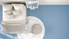 Bleu moderne confortable et chambre à coucher beige avec le plancher de parquet en bois, le tapis avec le pouf et le lit avec la  illustration libre de droits