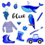 Bleu ou indigo Apprenez la couleur Ensemble d'éducation Illustration de couleurs primaires Photographie stock