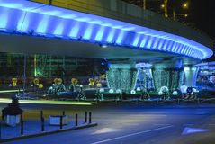 Blue bridge, lighted in the night Stock Photo