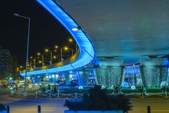 Blue bridge, lighted in the night Stock Photos