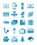 Bleu plat d'icône de supports de communications, concept de technologie de télécom illustration stock