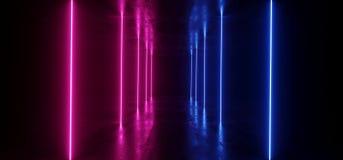 Bleu pourpre concret grunge fonc? rougeoyant au n?on de fond de Sci fi de vaisseau spatial de laser d'?tape fluorescente vibrante illustration de vecteur