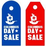 Bleu rouge de Columbus Day de vente heureuse de promotion Image stock