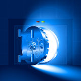 Bleu sûr de porte entrouverte de lumière Image libre de droits