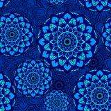 Bleu sans couture de fleur de modèle de mandala Photos stock