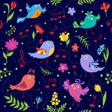 Bleu sans couture de modèle d'oiseaux musicaux mignons de ressort Photo libre de droits