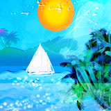 Bleu sea. Abstract Background with  sea and boat Royalty Free Stock Photo