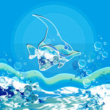 Bleu sea with fish. Abstract Background with  sea  and fish Royalty Free Stock Photography