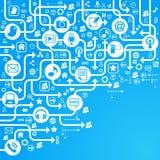 Bleu social de réseau de fond