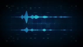 Bleu stéréo de forme d'onde audio illustration stock