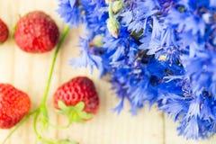 Bleuets avec des fraises Photo libre de droits
