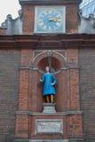 Blewcoat学校时钟在1709年修造的 库存图片