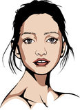 Blåögd kvinna som bär inget smink Royaltyfria Bilder