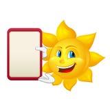 Blåögd sol med demonstrationsbrädet Arkivbild