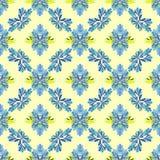 Blühen Sie nahtloses Muster des abstrakten Vektors der Blumenblätter auf einem gelben Hintergrund Stockbilder