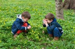 Bliźnięta jednojajowe bawić się fotografa obraz stock