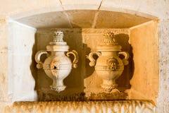 Bliźniacy sculpted łzawicy przy Tomar kasztelem Fotografia Stock