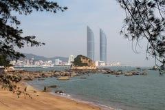 Bliźniacze wieże w Xiamen mieście, południowo-wschodni Chiny Fotografia Royalty Free