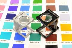 Bliźniaczy magnifier loupes koloru zarządzanie. Fotografia Royalty Free