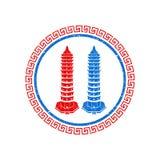 Bliźniaczy pagodowy grunge logo wektor royalty ilustracja