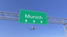Bliźniaczy parowozowy handlowy samolot przyjeżdża Monachium lotnisko Podróżować Niemcy konceptualny 3D rendering Obrazy Royalty Free