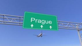 Bliźniaczy parowozowy handlowy samolot przyjeżdża Praga lotnisko Podróżować republika czech konceptualny 3D rendering Zdjęcie Stock
