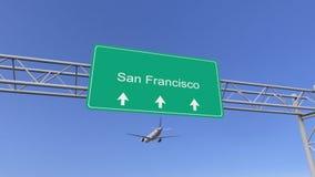 Bliźniaczy parowozowy handlowy samolot przyjeżdża San Fransisco lotnisko Podróżować Stany Zjednoczone konceptualny 3D rendering Obrazy Royalty Free