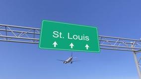 Bliźniaczy parowozowy handlowy samolot przyjeżdża St Louis lotnisko Podróżować Stany Zjednoczone konceptualny 3D rendering Obrazy Royalty Free