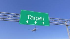Bliźniaczy parowozowy handlowy samolot przyjeżdża Taipei lotnisko Podróżować Tajwański konceptualny 3D rendering Obraz Royalty Free
