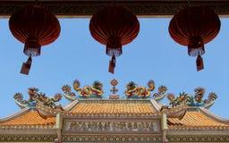 Bliźniaczy smoki na dachu Chińska świątynia Zdjęcie Royalty Free