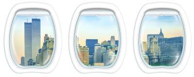 Bliźniaczych Wież NY okno obrazy royalty free