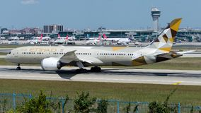 A6-BLI Etihad Airways, Boeing 767-9 Dreamliner. A6-BLI is rolling for take-off on runway 35L at Istanbul Ataturk Airport LTBA, August 12, 2018 royalty free stock photography