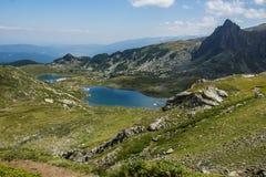 Bliźniak i Koniczyna jeziora Siedem Rila jezior, Rila góra Obrazy Royalty Free