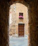 Blick der Stadt von Pienza in Toskana Stockfotografie