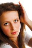 Blick des jungen Mädchens ernst Stockbild