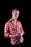 Blick des jungen Mannes auf Sie - Hemd im Check Stockbilder