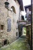 Blick einer Straße in einem mittelalterlichen town-2 Lizenzfreie Stockbilder