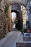 Blick eines typischen mittelalterlichen Dorfs Stockfoto