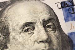 Blick för Benjamin Franklin ` s på hundra dollarräkning r fotografering för bildbyråer