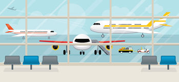 Blick för flygplatsterminal utanför Royaltyfri Illustrationer