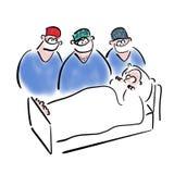 Blick för tre kirurger på en patient stock illustrationer